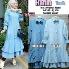 IndonesiaHeritage Dress Denim Jeans - Kemeja Wanita Tunik Original Jeans - Gamis Casual Denim Jeans -  Fashion Hijab Busana Muslim Wanita Terbaru - ihhanin