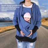 Jual Bayi Carrier Maternity Zip Jaket Mantel Hoodie Gaya Kanguru Untuk Ibu Dan Bayi Biru Xl Intl Ori