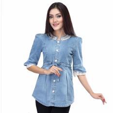 Review Toko Inficlo Pakaian Wanita Atasan Blouse Bahan Jeans Stretch Spi 514