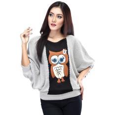 Jual Inficlo Sad 244 Sweater Rajut Wanita Cotton Rajut Cantik Hitam Kombinasi Murah Jawa Barat