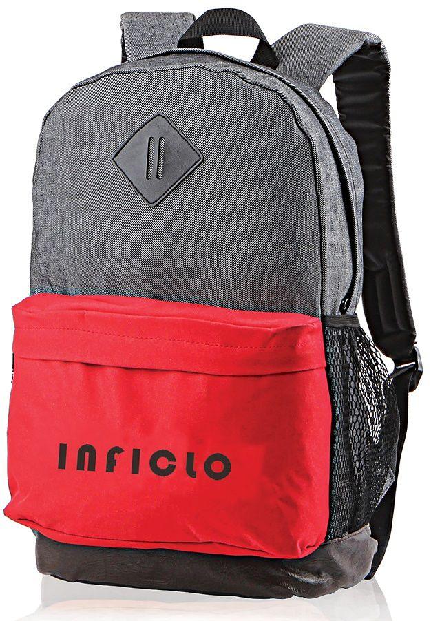 Inficlo SBR 696 Tas Ransel Laptop Pria - Jeans Kom - Bagus (Abu-Merah)
