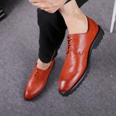 Sepatu Kulit Inggris Baru Sepatu Kulit Kasual Putaran (92302 Warna Merah Bata Sepatu Golden Goose Model)