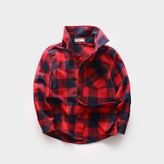 Spesifikasi Inggris Bulu Halus Merah Lengan Panjang Kemeja Anak Laki Laki Kemeja Kotak Kotak Merah Merk Oem