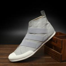 Inggris Kanvas Pergelangan Kesemek Tinggi Kets Pria Laki-laki Sepatu Kasual (521 Abu-abu Terang)