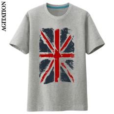 Inggris Katun Bendera Nasional Skala Penuh Baru Lengan Pendek Kaus Bottoming Kemeja (Abu-abu) (Abu-abu)