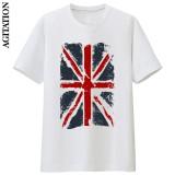 Penawaran Istimewa Inggris Katun Bendera Nasional Skala Penuh Baru Lengan Pendek T Shirt Bottoming Kemeja Putih Putih Terbaru