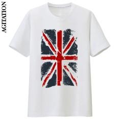 Beli Inggris Katun Bendera Nasional Skala Penuh Baru Lengan Pendek T Shirt Bottoming Kemeja Putih Putih Kredit Tiongkok