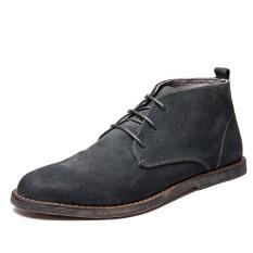 Dr. Martens Kulit Sepatu Engkel Tinggi Pria Inggris (Gosok Kokas Abu-abu)
