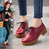 Spek Sepatu Lapisan Tunggal Wanita Sol Tendon Sol Datar Bertali Retro Model Inggris Anggur Merah