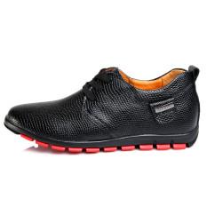 Inggris Motif Kulit Ular Tidak Terlihat Sepatu Golden Goose Sepatu Pria Sepatu Kulit Pria (Hitam 6 Cm Peninggi)