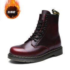 Inggris Tambah Beludru Musim Dingin Remaja Pergelangan Kaki Sedang Sepatu Boot Dr. Martens (Arak Anggur (Tinggi Negara Tambah Beludru))