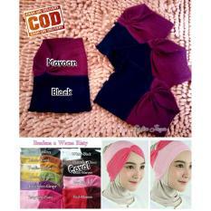 Ciput Risty Rajut Model Bandana  2 in 1 Kerut - 2 Warna - Dalaman Hijab Jilbab