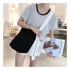Ins Jianyue bordir perempuan baru Korea Fashion Style bahu tas kanvas tas (Hitam tas putih tali) Tas Tas Wanita Tas Selempang Wanita Tas Mini Wanita