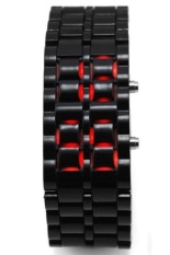 Iron Samurai Jam Tangan Pria - Black Red - Steel - LED Tokyo Flash with Metal Case