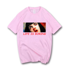 Adalah Eropa atau Amerika Pria atau Wanita Some Lengan Pendek Kaus (Merah Muda Madu Ya Komik Model)