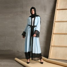Islam Abaya Muslim Perempuan Maxi Gaun Kasual Renda Elegant Cardigan Jubah Turki Instan Vestidos Jilbab Kaftan Gaya Maroko-Intl