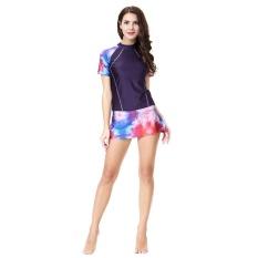 Islamic Adult Beachwear Print Swimsuit for Women Short Sports Swimwear Purple