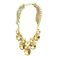 Istana Accessories Round Crystal Chain Fashion Necklace Kuning Terbaru