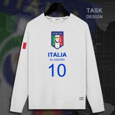 Italia Pria Logo Tim Baju Olahraga Sepatu Sepak Bola (Bagian Tipis Leher Bulat Putih Biru Kata)