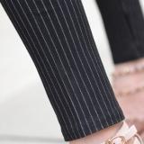 Toko Mm Ukuran Besar Peregangan Legging Pinggang Tinggi Celana Kaki Celana Putih Bergaris Murah Tiongkok