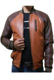Spek J Brille Men Semi Leather Jacket Baseball Brown Tan