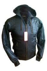 Toko J Brille Men Semi Leather Jacket Hoodie Hitam Dekat Sini
