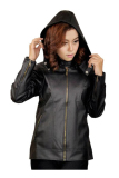 Review Toko J Brille Women Semi Leather Jacket Hoodie Hitam Online