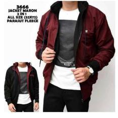 J_E fashion Jaket Parasut DC Bolak-Balik Maroon-Black