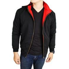 J_E  fashion pria jaket DC parasut bolak-balik hitam-merah