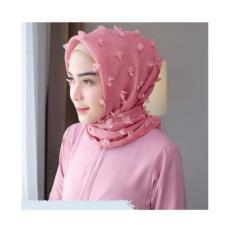JABAR - FREE ONGKIR Kerudung Hijab Jilbab Umma Pink Merah Muda Linen Wanita Segi empat Linen Ruby Rubiah Rubby Rubi SquareMotif Fariasi Corak Bunga Warna Termurah Murah Laris Dan Terlaris Best Seller Muslimah Modis Kekinian  Embos Import COD