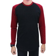 Jual Jackdow Dla02 Kaos Raglan Lengan Panjang Elegan Black Maroon Grosir