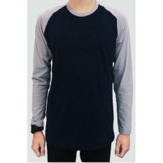 Beli Jackdow Dla12 Kaos Raglan Lengan Panjang Cool Colour Navy Grey Kredit