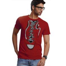 Jual Jackdow T051 Kaos Distro Desain Unik Tali Sepatu Merah Branded Original