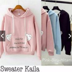 jacket hodie / sweater kayla biru muda