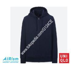 Jacket Pria Uniqlo Airism Jaket Hoodie Retsleting 180714 Biru Tua Navy - Ex1srb