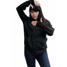 Diskon Besarjacket Wanita Rounhand Jacket Jacket Polos Fleece Hitam