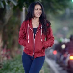 Review Terbaik Jacket Wanita Sweater Croope Jacket Hodie Fleece Maroon