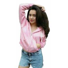 Jual Jacket Wanita Sweater Croope Jacket Hodie Fleece Pink Muda 3K Fashion Murah