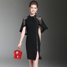 Gaun Wanita Kombinasi Renda Membentuk Tubuh Modern (Hitam)