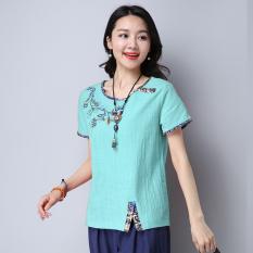 Harga Longgar Jahitan Bordir Perempuan Tipis Kemeja T Shirt Hijau Hijau New