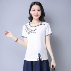 Model Longgar Jahitan Bordir Perempuan Tipis Kemeja T Shirt Putih Putih Baju Wanita Baju Atasan Kemeja Wanita Terbaru
