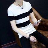Spesifikasi Jahitan Leher Bulat Slim Lengan Pendek T Shirt T Shirt Jahitan Putih Terbaik
