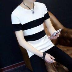 Top 10 Jahitan Leher Bulat Slim Lengan Pendek T Shirt T Shirt Jahitan Putih Online