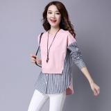 Jual Longgar Adalah Jahitan Tipis Palsu Dua Bottoming Kemeja Korea Fashion Style Sweater Merah Muda Merah Muda Baru