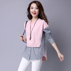 Spesifikasi Longgar Adalah Jahitan Tipis Palsu Dua Bottoming Kemeja Korea Fashion Style Sweater Merah Muda Merah Muda Merk Oem