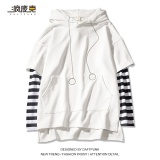 Beli Atasan Jahitan Topi Wanita Kemeja Korea Fashion Style Longgar 613 Bergaris Lengan Lengan Panjang Putih Secara Angsuran