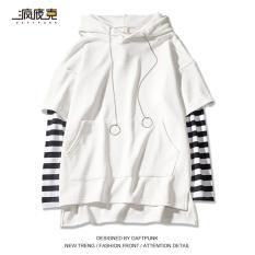 Harga Atasan Jahitan Topi Wanita Kemeja Korea Fashion Style Longgar 613 Bergaris Lengan Lengan Panjang Putih Oem Original