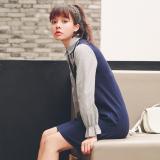 Toko Jual Jahitan V Neck Suspender Lengan Panjang Gaun Korea Fashion Style Rok Biru Tua