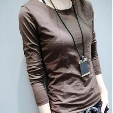 Jahitan Warna Polos Perempuan Perempuan Atasan Baju Musim Gugur Korea Modis Gaya Lengan Panjang Kaus (Coklat Muda Yang Mendalam)