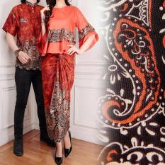 Jakarta Couple - Baju Couple Blouse Batik Sonia Orange  Batik Couple  Batik Pasangan  Baju Cantik  Model Terompet